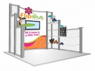 Flipout trade show display by Structurz Exhibits and Graphics.