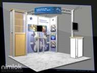 Intrinsic trade show display by Structurz Exhibits and Graphics.