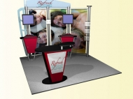 Refresh trade show display by Structurz Exhibits and Graphics.