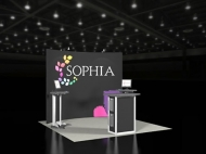Sophia trade show display by Structurz Exhibits and Graphics.