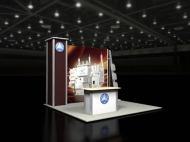 Trade show display by Structurz Exhibits and Graphics.