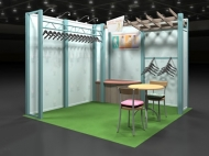 Clothing retailer trade show display by Structurz Exhibits and Graphics.