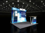 Water-themed trade show display by Structurz Exhibits and Graphics.