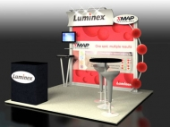 Luminex trade show display by Structurz Exhibits and Graphics.