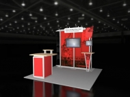 Red-themed trade show exhibit by Structurz Exhibits and Graphics.