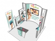 FlipOut trade show exhibit by Structurz Exhibits and Graphics.