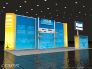 Himi trade show display by Structurz Exhibits and Graphics.