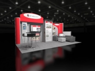 Contemporary red trade show exhibit by Structurz Exhibits and Graphics.