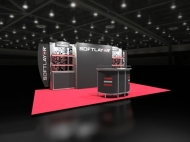 Softplayer trade show display by Structurz Exhibits and Graphics.
