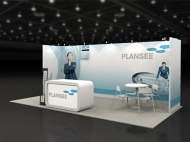 Plansee trade show display by Structurz Exhibits and Graphics.