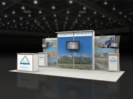 Mountain-themed trade show display by Structurz Exhibits and Graphics.
