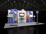 Blue-themed contemporary trade show display by Structurz Exhibits and Graphics.