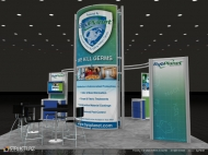 ByoPlanet trade show display by Structurz Exhibits and Graphics.