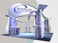 Novalar trade show display by Structurz Exhibits and Graphics.