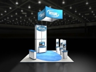 Anue trade show display by Structurz Exhibits and Graphics.