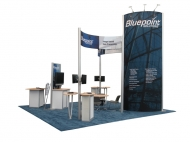 Bluepoint trade show display by Structurz Exhibits and Graphics.