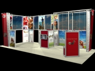 Red-themed custom display by Structurz Exhibits and Graphics.